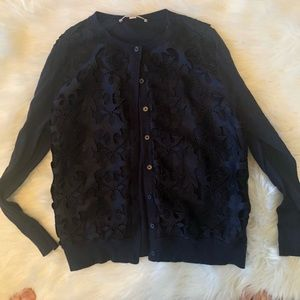 Loft Petite navy cardigan with lace front